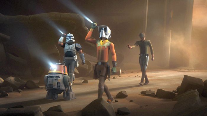 "STAR WARS REBELS - ""Ghosts of Geonosis: Part 1"" - The crew returns to Geonosis in search of a missing rebel team sent to investigate suspicious activity there and are surprised by what they find. This episode of ""Star Wars Rebels"" airs Saturday, January 07 (8:30 - 9:00 P.M. EST) on Disney XD. (Lucasfilm) CHOPPER, REX, EZRA, KANAN"